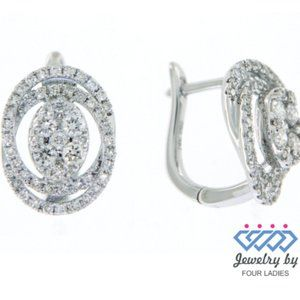 Cluster Diamond Round Huggies Earrings White Gold
